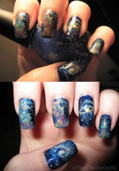 galaxy nails -- love this for the girls