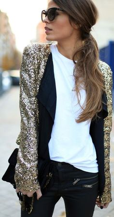 Gold Sequins jacket. Love the moto zippered details on the jeans too.