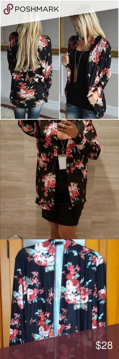 Rose floral flower cardigan black casual sweater Hi Poshers! Selling this unused cardigan. Has a rose floral print all over. No buttons nor sippers. Please don't confuse the cardigan with another style. This is made of polyester NOT TULLE / CHIFFON. Just a simple cardigan to put over a cute tank top or dress 🌹💐🌹Hang dry, do not dry or the polyester will shrink! Sweaters Cardigans