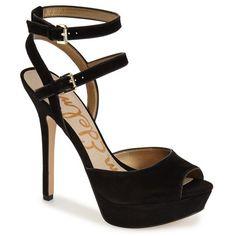 """Sam Edelman'Nadine' Platform Sandal, 5"""" heel ($70) ❤ liked on Polyvore featuring shoes, sandals, black suede, ankle strap platform sandals, peep toe sandals, platform shoes, black high heel shoes and black sandals"""
