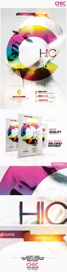 Chic Flyer Template / $6. This flyer is perfect for the promotion of Fashion Shows, Shops/Boutiques, Sales/Promotions, New Collections, Events, Club Parties, Musicals, Festivals or Whatever you Want!.