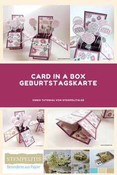 Video Tutorial für eine Card in a Box Geburtstagskarte. Von stempelitis.de