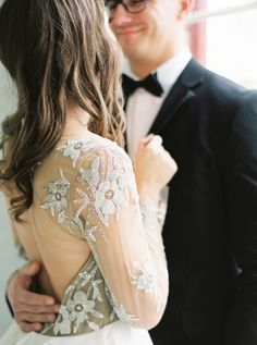 Nude+Floral+Wedding+Dress+with+Embroidered+Sleeves