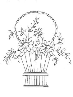 country basket - embroidery pattern