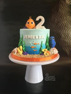 Watercolor blue buttercream birthday cake using squirt toys for Nemo and Dory for the figures (sorry copyright gods!). All undersea elements handmade, name and #2 sparkly of course.
