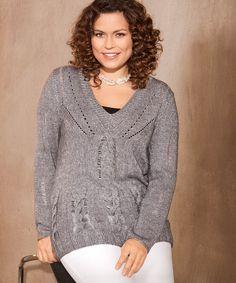 Cерый пуловер с V-образным вырезом