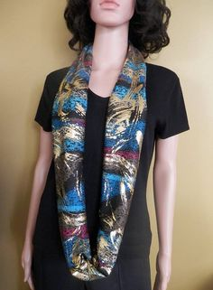 New Metallic Gold Black and Multicolor Print Knit Infinity Scarf, Women Shawl, Boho Scarf, Loop Scar Jewel Tones, Winter Wear, Fall Outfits, Kimono Top, Metallic Gold, Trending Outfits, Infinity, Sweaters, How To Wear