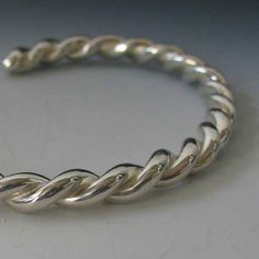Heavy Women's or Teen's Handmade Rope Cuff Bracelet in Sterling Silver Custom Order Plain Minimalist *FREE SHIPPING* by JazznJewelry on Etsy https://www.etsy.com/listing/192216899/heavy-womens-or-teens-handmade-rope-cuff
