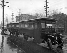 Two new Seattle Municipal Railway buses are posed for photographer Asahel Curtis along the west curb of Broadway Avenue between Pike (behind the photographer) and Pine Streets in Seattle, Washington Pacific Ocean, Pacific Northwest, Washington State, Seattle Washington, Evergreen State, State Of Oregon, Seattle Seahawks, Old Pictures, Historical Photos