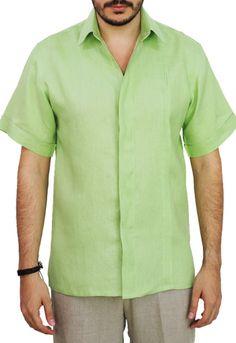Camisa de Lino Manga Corta Color Verde Mojito