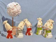 Clay pots snowman