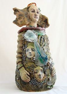 Ceramic, blown glass and freshwater pearl sculpture I recently finished.