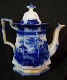 Antique Victorian Flow Blue Tea Pot Teapot DAVENPORT Amoy c1844 SIGNED #Amoy