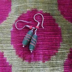 Assyrian weaved glass bead antique earrings