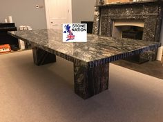 Super-sized Black Beauty granite dining table, made to match the existing granite fireplace. With twin pedestals and groove-line edge. Granite Worktops, Granite Tops, Granite Dining Table, Dining Chairs, Dining Room, Marble Fire Surround, Granite Fireplace, Marble Furniture, Bespoke Furniture
