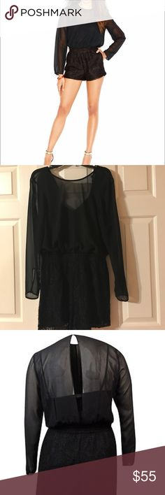 Bcbg lace and chiffon romper Bust 21 length 33 gently used couple times BCBGeneration Shorts