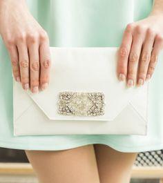 Bridal Clutch / Leather Clutch / Rhinestone