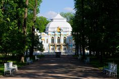 Pavilion in Catherine`s park in Tsarskoe Selo near Saint Petersburg, Russia. by Anna Serbolina