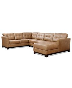 Martino Leather 3-Piece Chaise Sectional Sofa - Couches & Sofas - Furniture - Macy's