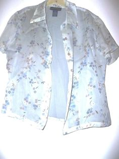 Sz 4 by Charter Club Dress Top, 100% Polyester, Pale Green Floral, Short Sl  #CharterClub #Blouse #DressWorkCasual