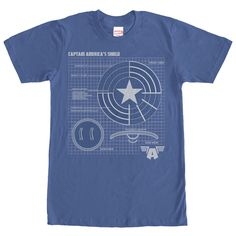 Captain Americas vibranium-steel alloy shield has all sorts of amazing qualities on the Marvel Captain America Shield Schematic Royal Blue T-Shirt. Take a closer look at the iconic shield on this blue Captain America shirt that reveals the schematic