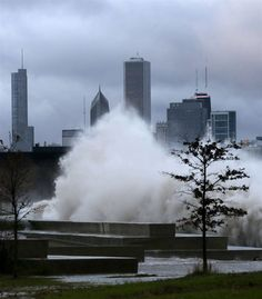 Stop 4 to 5: Museum Campus. Be glad you weren't out on top of a bus on Solidarity Drive on Halloween, 2014. Talk about scary! I've never seen Lake Michigan so rough. At least, not at such close range.--AP photo by Charles Rex Arbogast, published in the Elkhart Truth.