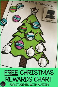 This product is a free Christmas token rewards chart. It features a Christmas tree in which students must gain 8 tokens (tree decorations) in order to receive their reward. A choice of 6 rewards has been included (bubbles, drawing, computer, tablet, break and free choice) or you can use any picture visual that is a motivator for your student. For school or home use. Teaching Emotions, Autism Teaching, Teaching Resources, Christmas Activities, Christmas Themes, Family Activities, Kids Sleep, Child Sleep, Christmas Charts