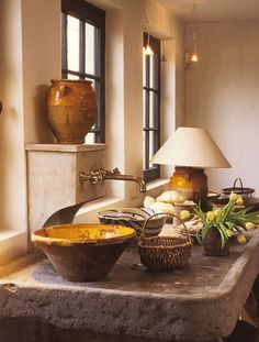 gorgeous stone and pottery. Maybe rustic kitchen, or potting room?
