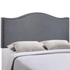 Curl Queen Nailhead Upholstered Headboard #furnitureredo