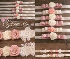 Bracciali per damigelle coordinati al bouquet di rose avorio e rosa. info@trilliegingilli.com - www.trilliegingilli.com