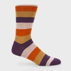Paul Smith Men's Socks - Purple Block Stripe Socks