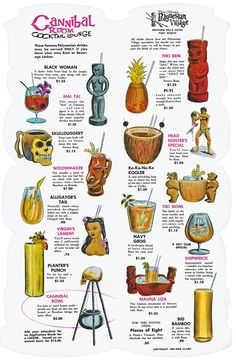 cocktail menu from Ren Clark's Polynesian Village, circa shows the variety of decorative mugs used at Tiki bars.This cocktail menu from Ren Clark's Polynesian Village, circa shows the variety of decorative mugs used at Tiki bars. Tiki Art, Tiki Tiki, Bar A Bonbon, Tiki Bar Decor, Vintage Tiki, Vintage Menu, Vintage Hawaii, Tiki Lounge, Metzger