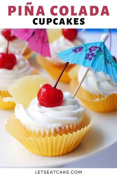 These Pina Colada Cupcakes are the perfect summer cupcake! They're great for summer birthday parties or if you just tropical cocktails. Top the pineapple cake with a creamy coconut frosting and a maraschino cherry! #letseatcake #cupcakes #pinacolada #pinacoladacupcakes #summerpartyideas #coconutfrosting #easycupcakes #cupcakerecipe #bakingrecipe