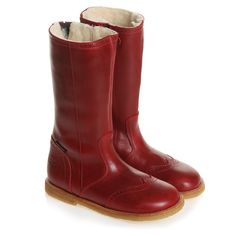 Rap Shoes Girls Red Leather Fleece Lined Boots