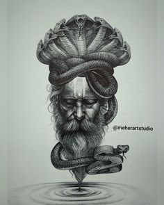 Abstract Pencil Drawings, Cool Art Drawings, Art Drawings Sketches, Shiva Tattoo Design, Snake Art, Lord Shiva Painting, Indian Folk Art, Spiritus, Hindu Art