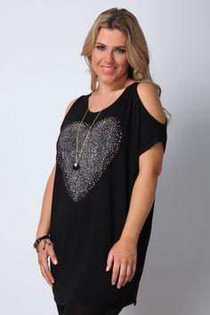 Black heart embellished cold shoulder top plus size