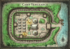 Tomb of Annihilation; Camp Vengeance - D&D Battlemap Fantasy City Map, Fantasy Castle, Fantasy World, Dungeons And Dragons, Dnd World Map, Pathfinder Maps, Pen & Paper, Village Map, Map Maker