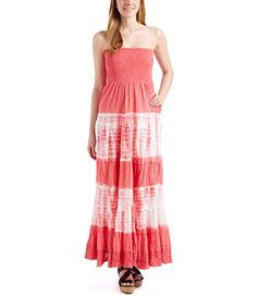Betsy Red Couture Womens Woven Strapless Tiedye Maxi Dress M Coral -- Be sure to check out this awesome product.