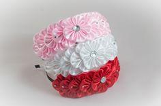 Headband hair band kanzashi style red white pink por myflowersshop
