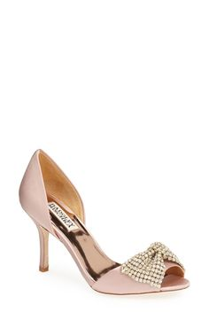Pretty shoes with a sparkly bow. Love this pale pink Badgley Mischka satin d'Orsay pump.