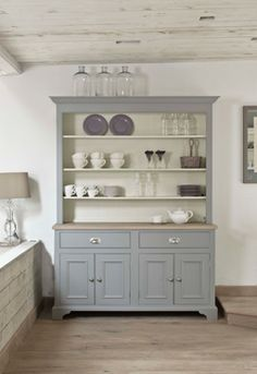 Cupboard Cabinet Painted Gray with White Inside
