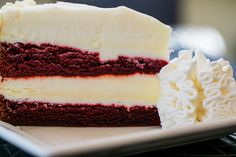 Moist layers of Red Velvet Cake and our Original Cheesecake covered with our special Cheesecake Factory cream cheese frosting. - Yummy!