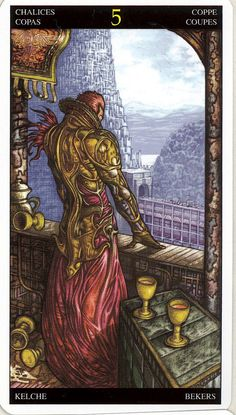 Universal Fantasy tarot - 5 of cups/chalices