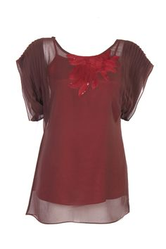 Brown Solid Kurti In Poly Georgette; Sequin Embroidery & Pleating; Round Neck; Raglan Sleeve; 30 Inches In Length #Wishful #Clothing #Fashion #Style #Kurti #Wear #Colors #Apparel #Semiformal #Print #Casuals #W for #Woman
