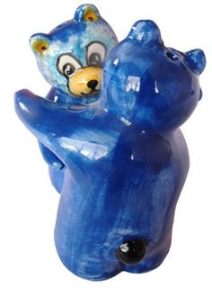 Blue Salt & Pepper Shaker Set (Blue Bears) - Hand Painted From Spain
