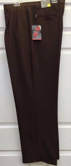 40a17d8159 Men s Brown 2 Pleat Cuffed Dress Pants Baggy Fit Pacelli Sizes 29x30 -  60x34  Browning