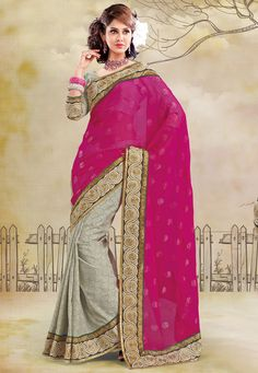 Dark Pink Faux Chiffon and Art Bhagalpuri Silk Saree With Blouse @ $101.33