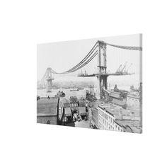 Construction of The Manhattan Bridge (1909) Canvas Print