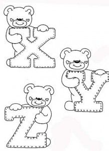 desenhos-alfabeto-ursinhos-enfeite-sala-de-aula-infantil-(7) - alphabet and teddy coloring Coloring Letters, Alphabet Coloring Pages, Cute Coloring Pages, Adult Coloring Pages, Coloring Books, Embroidery Alphabet, Baby Embroidery, Felt Patterns, Applique Patterns