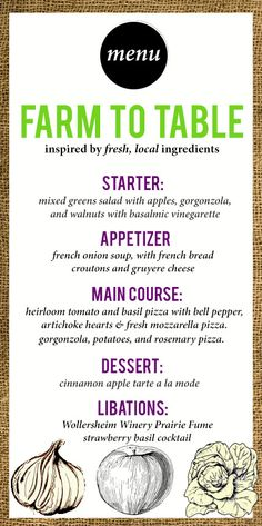 Farm to Table Dinner Menu